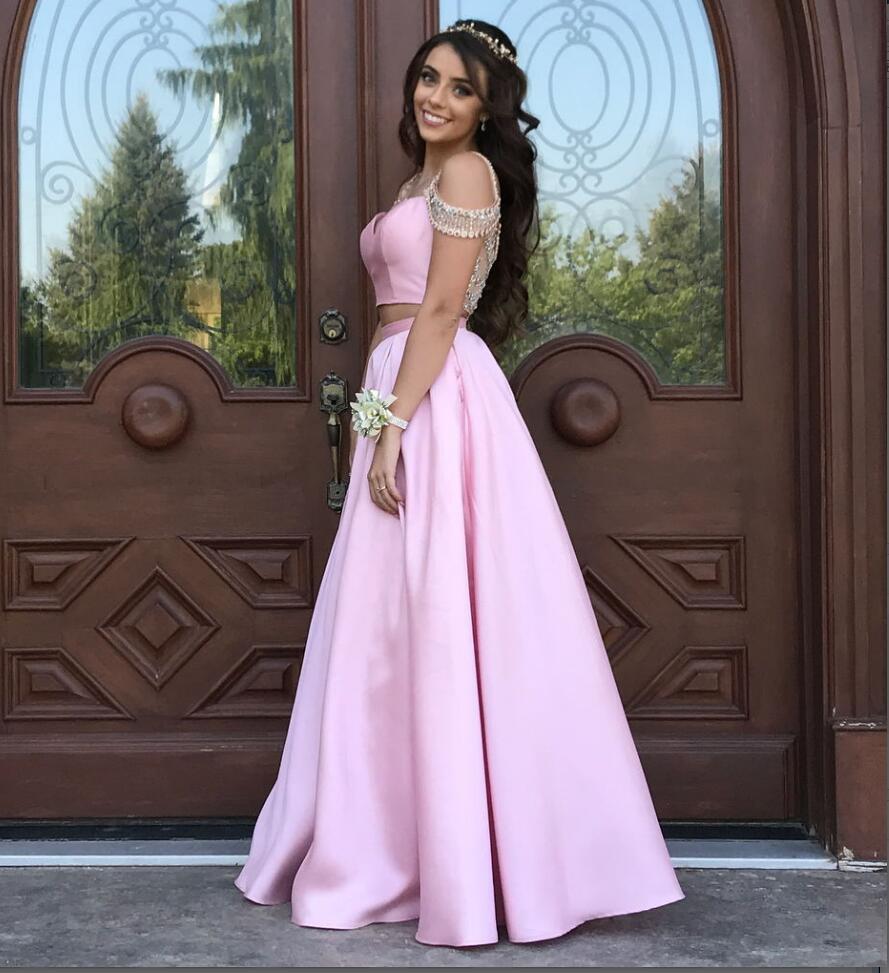 283748d296 A Line Long Satin Pink Off Shoulder Crystal Prom Dress, Long Prom Dress,Pink