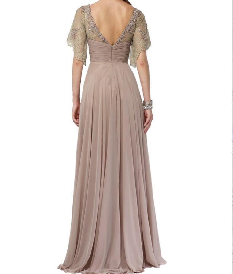 8d4a657e722a Elegant Long Chiffon Short Sleeve Lace Prom Dress,Long Chiffon Formal Short  Sleeve Lace Evening