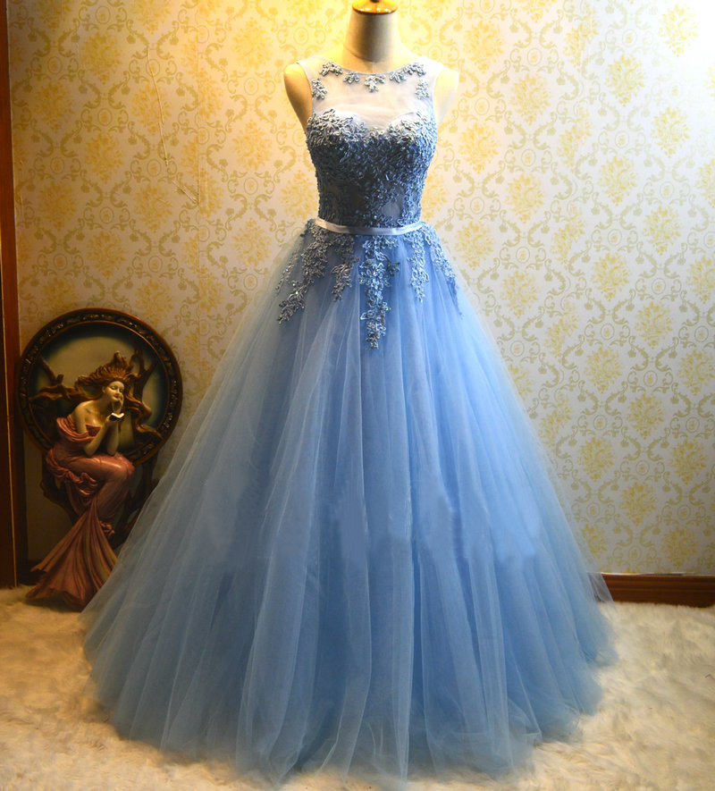 Formal Lace Ball Gown Blue Prom Dress,Tulle Appliques Prom Dress ...