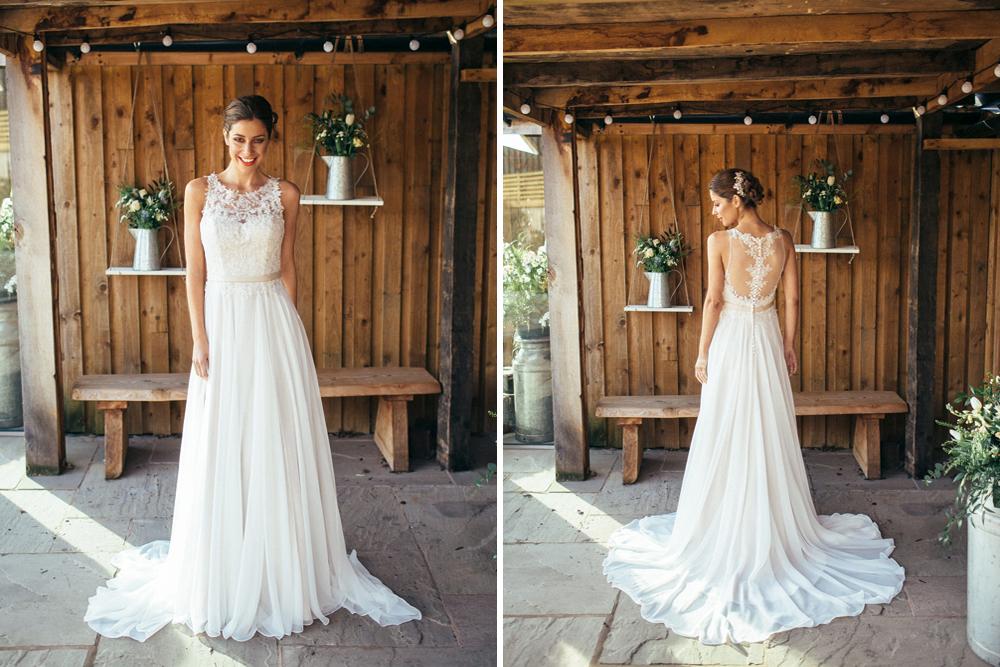 da4bb69330d7 E40 Chiffon Lace Wedding Dress Satin Waistband