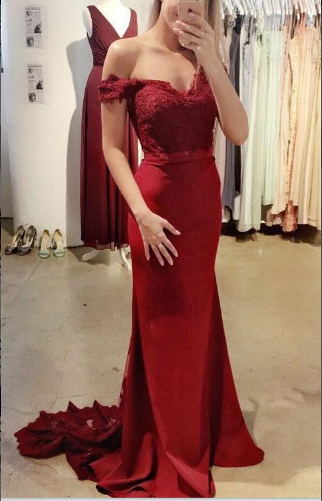Lace Burgundy Prom Dresses,Mermaid Prom Dresses,Long Prom Dresses ...