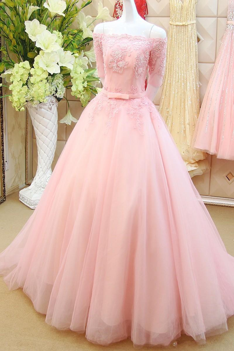 Stunning A-Line Prom Dress pink prom gowns long evening gowns for ...