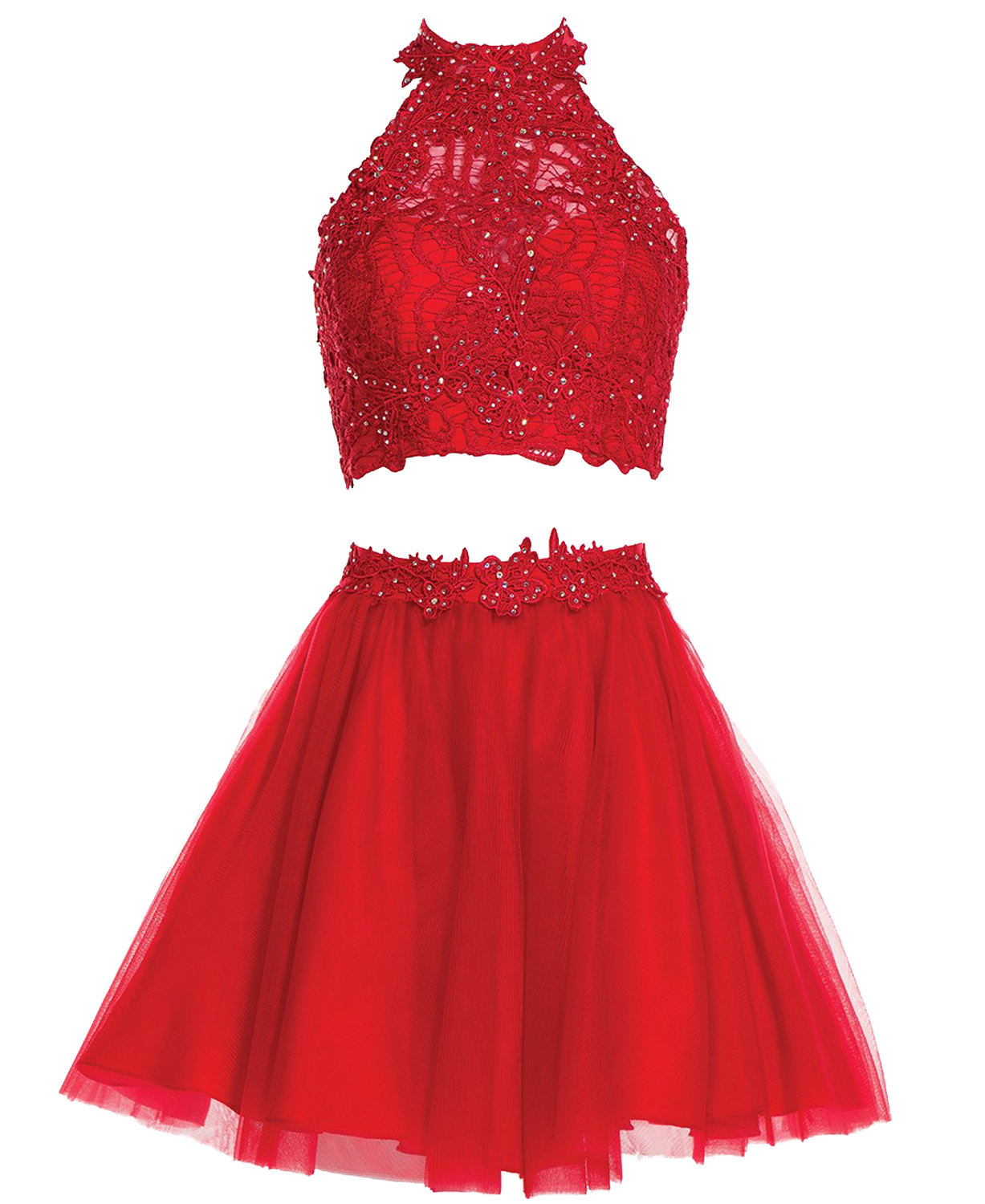 b50f3c4008dd Two Piece Red Halter Neck A Line Tulle Lace Short Homecoming Dress,Navy  Blue Lace