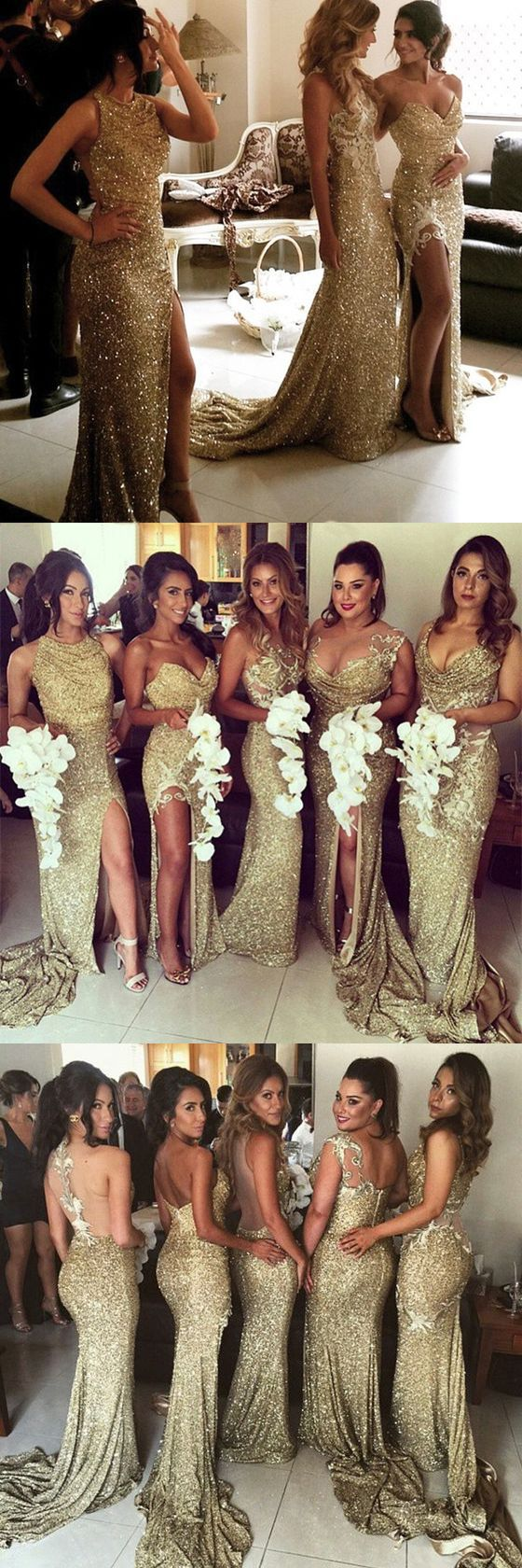 8868f40f3af Gold Sequin Bridesmaid Dresses