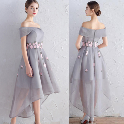 79b8bf98df10 Sexy grey tulle pink flowers homecoming dresses front short long back prom  dress