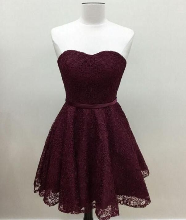 15bd553af5ce Cute Maroon Lace Short Homecoming Dresses