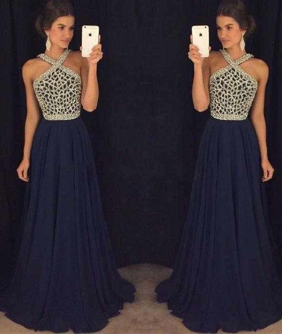 17e53ed410e6a Long Navy Blue Beaded Prom Evening Formal Dresses 410 · Luckdresses ...