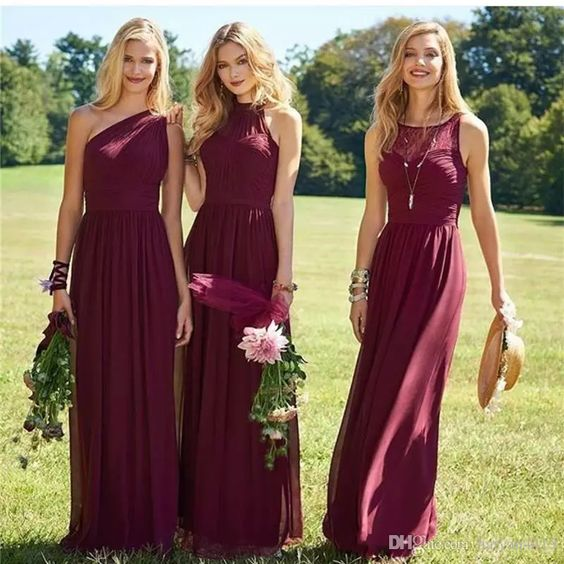 0c532870a21 A111 Burgundy Bridesmaid Dresses 2017 New Floor Length Mixed Styles Chiffon  Lace Wedding Party Dresses Cheap Summer Maid of Honor Gowns on Storenvy