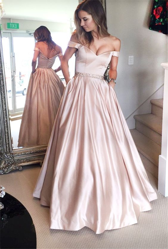 Simple Off-shoulder Satin A-line Prom Dresses Long Floor Length Plus ...