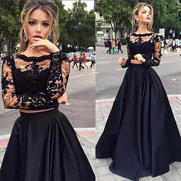 E107 Scallope Black Long Lace Top Long Evening Dress For Wedding ... 2c6260cde