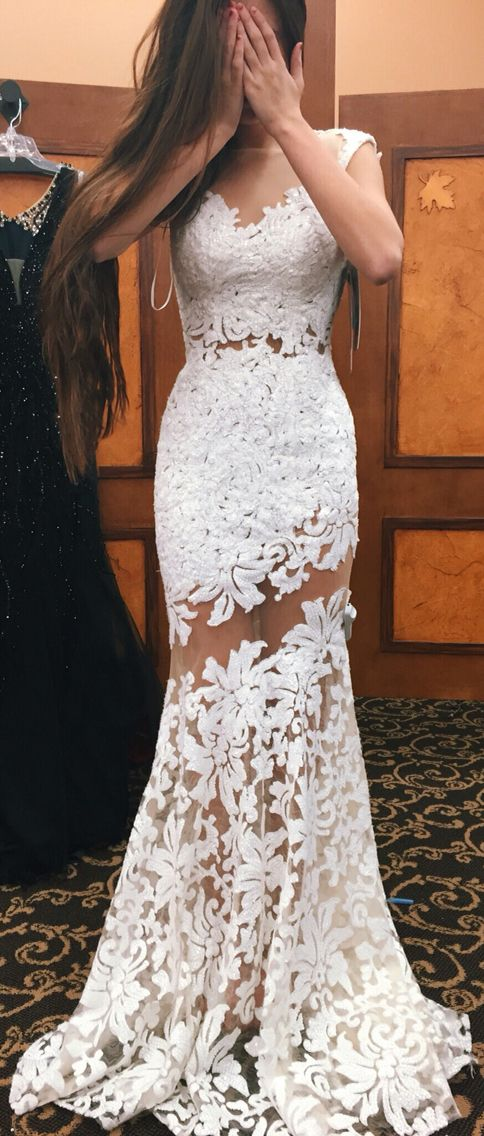 Elegant Cap Sleeves Long Lace Appliques Crystal Mermaid Prom Evening  Dresses Plus Size Prom Dress P29 from Lemonbridal