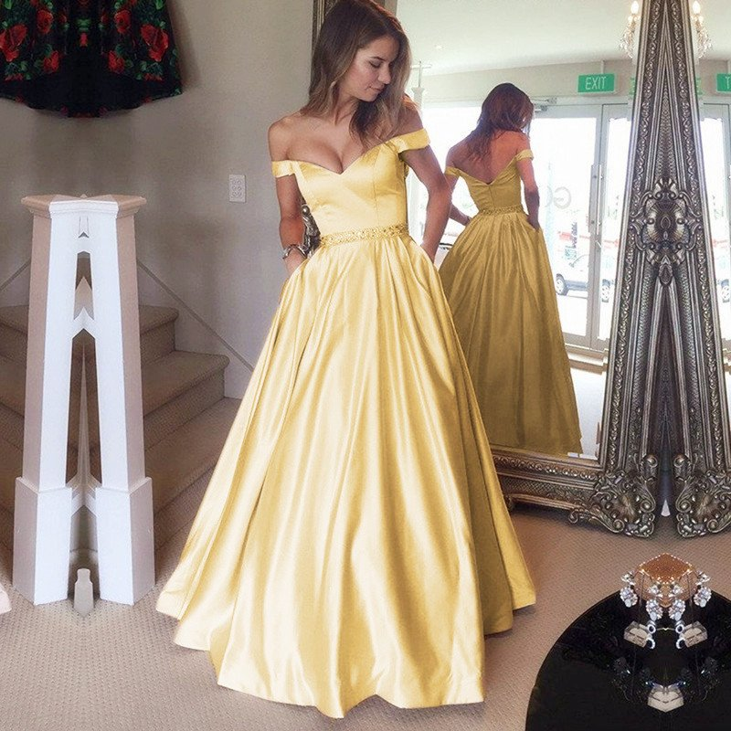 64fe38ecd4 A38 Yellow Satin V Neck Long Prom Dresses Ball Gowns