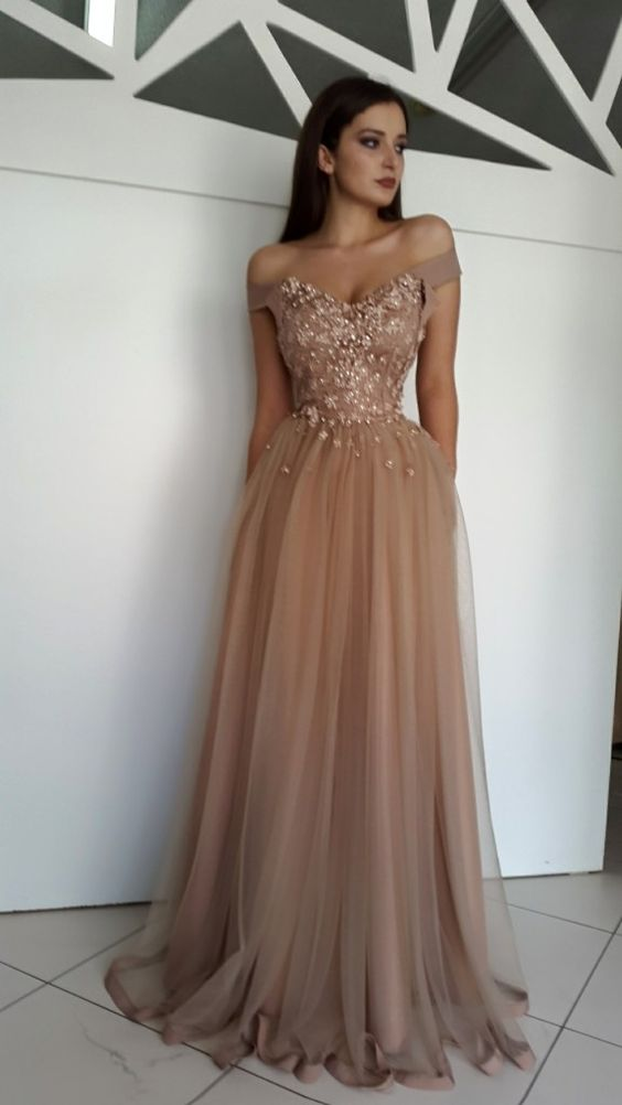 Gorgeous A-line Off-shoulder Lace Appliques Pearls Prom Evening ...