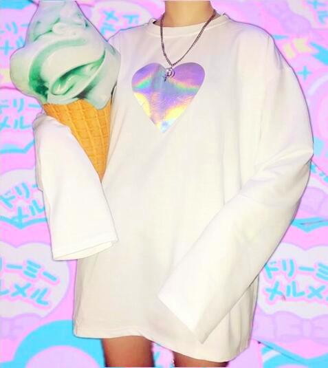 351c14bc380 Harajuku Hologram Heart Long Sleeve T-shirt · Littlepinko · Online ...