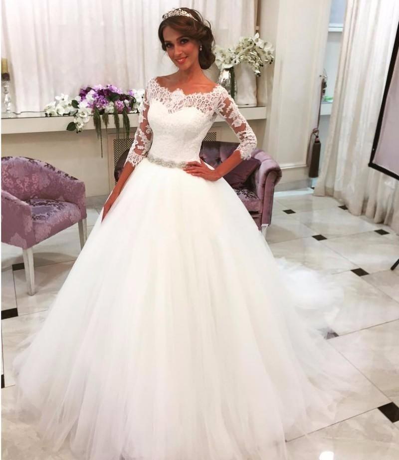 A428 Wedding Dress, Wedding Dresses, One Boat Neck Neck Long Sleeve ...
