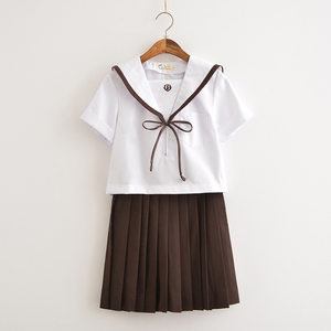 Japanese School JK Uniform Summer Girls Sailor Suit Blouse Pleated Skirt Suit AA