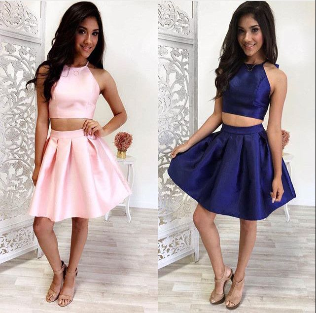 8ccfa4cf1cb A338 20simple 20two piece 20pink 20navy 20blue 20short 20prom 20homecoming  20dress original