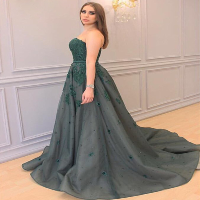 Elegant A-line Strapless Long Lace Appliques Beaded Plus Size Prom Evening  Dress E377 sold by Lemonbridal