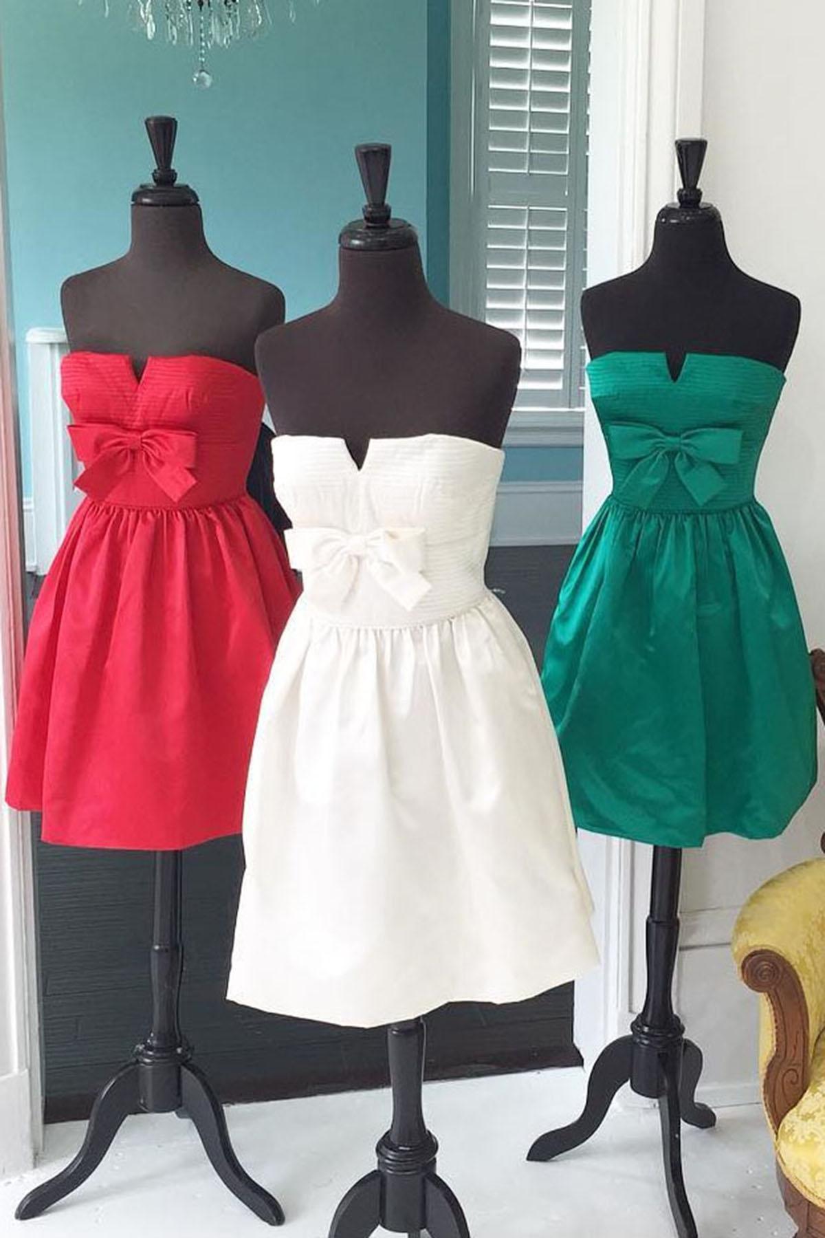 0bd327d20aab Sweetheart simple satin short homecoming dress, bowknot short prom dress