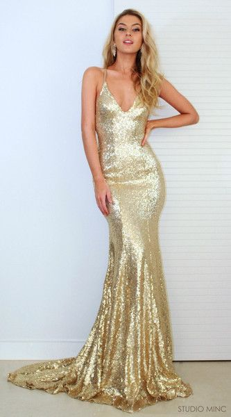 62c009cb6a2 New Gold Sequins Sexy Backless V Neck Sexy Gold Sequin Mermaid Sexy Prom  Dresses