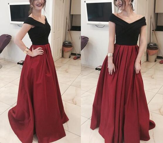 Black and Red Long Formal Dresses