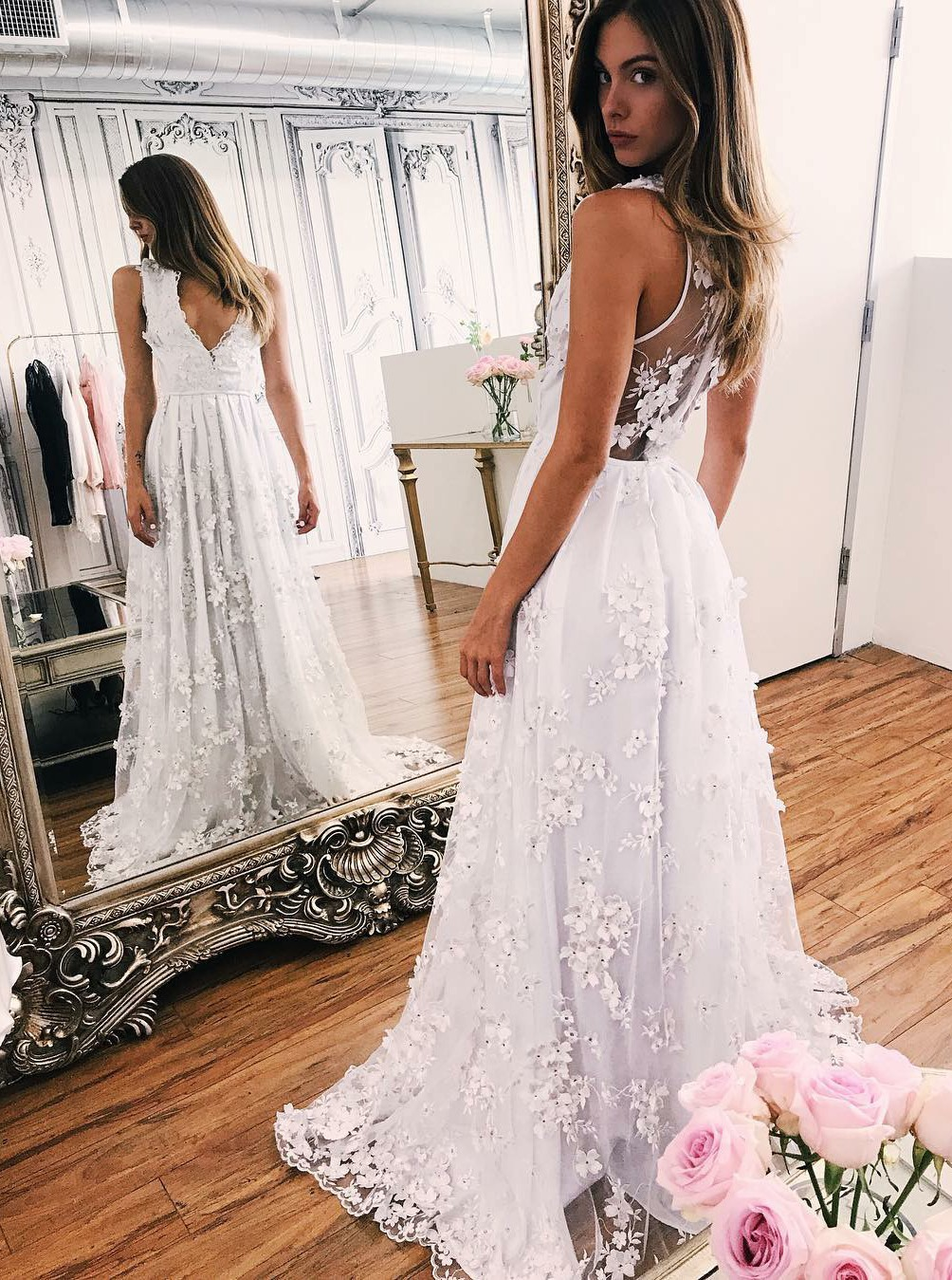 Deep V Neck White Beach Wedding Dresses Bridal Gowns with Appliques ...