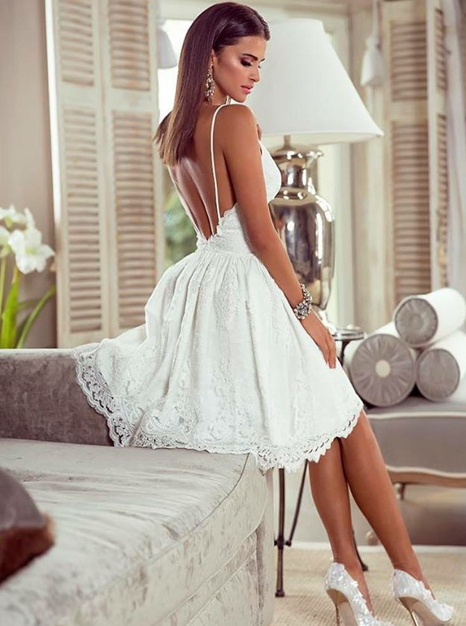 a724acc1df7 ... Fashion A-Line Spaghetti Straps Backless White Lace Short Homecoming  Dress - Thumbnail ...