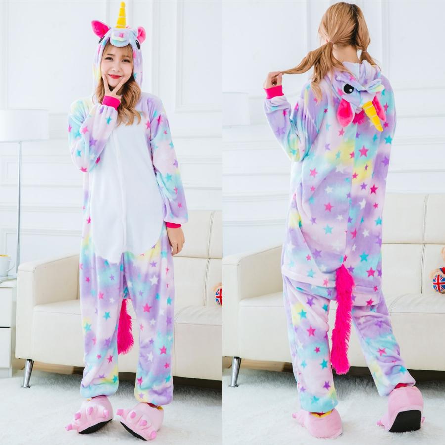2f72a32c03 Stars Rainbow Unicorn Pajamas Animal Stitch Unicorn Panda Bear Koala  Pikachu Onesie Adult Unisex Cosplay Costume