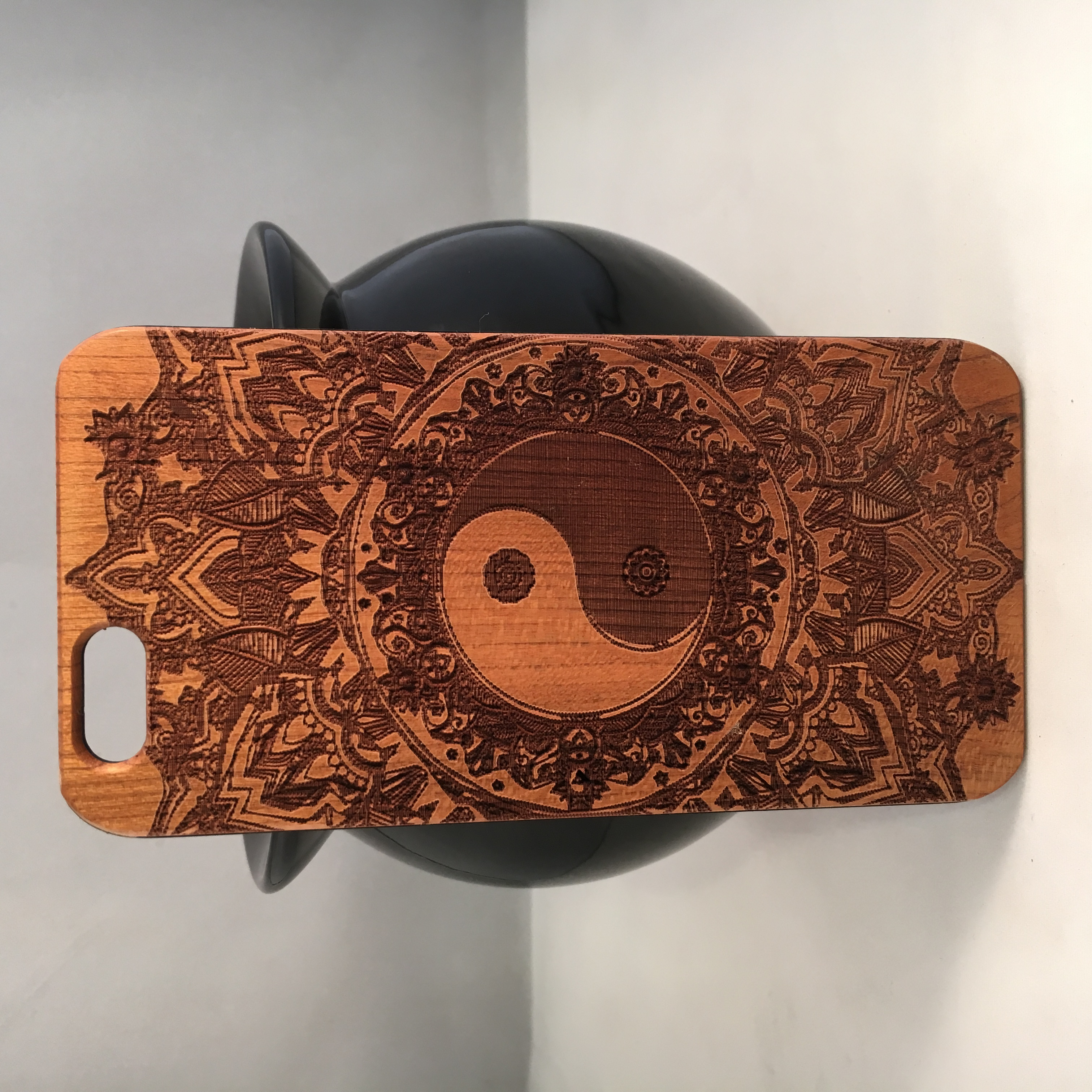 iPhone 6 / 6s Wood Cell Phone Case - Etched Yin Yang ...