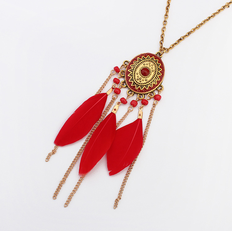 Handmade Fashion Jewelry Feather Beaded Tassel Chain Pendant Necklace Vintage Bohemian Necklace Gold Chain Necklace For Women Girls Simple Fashion Online Store Powered By Storenvy