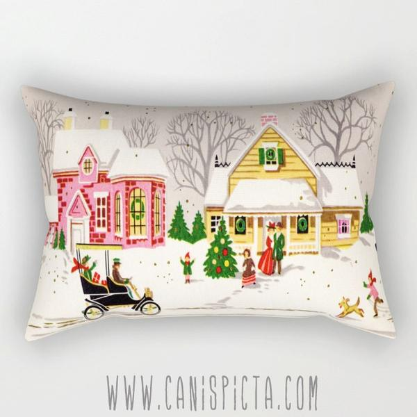 Christmas Rectangle Pillow Vintage Inspired Cushion Decorative Holiday Couch Retro Art Decor Rectangular Long Snow House Tree Decoration Dog Sold By