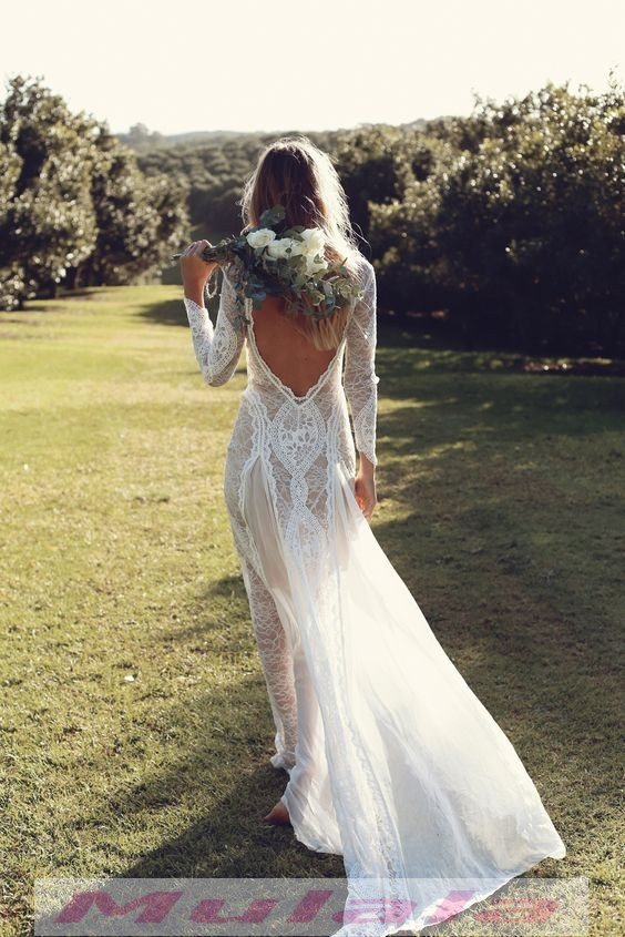 Vintage Lace Mermaid Long Sleeve Wedding Dresses Summer Beach Boho Backless  Bridal Gowns from Mulala