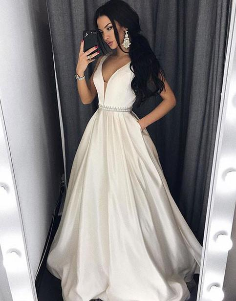 Sexy Deep V Neck White Long Prom Dress With Pockets Long
