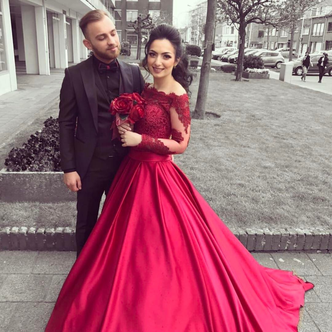 Red Off The Shoulder Long Sleeve Ball Gown Prom Dress Wedding Dress