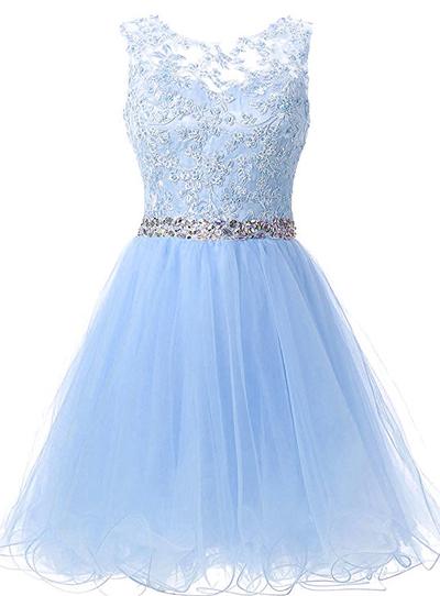 Charming Prom Dress, Elegant Light Blue Prom Dress, Tulle Prom Gown, Short  Homecoming Dress F2058