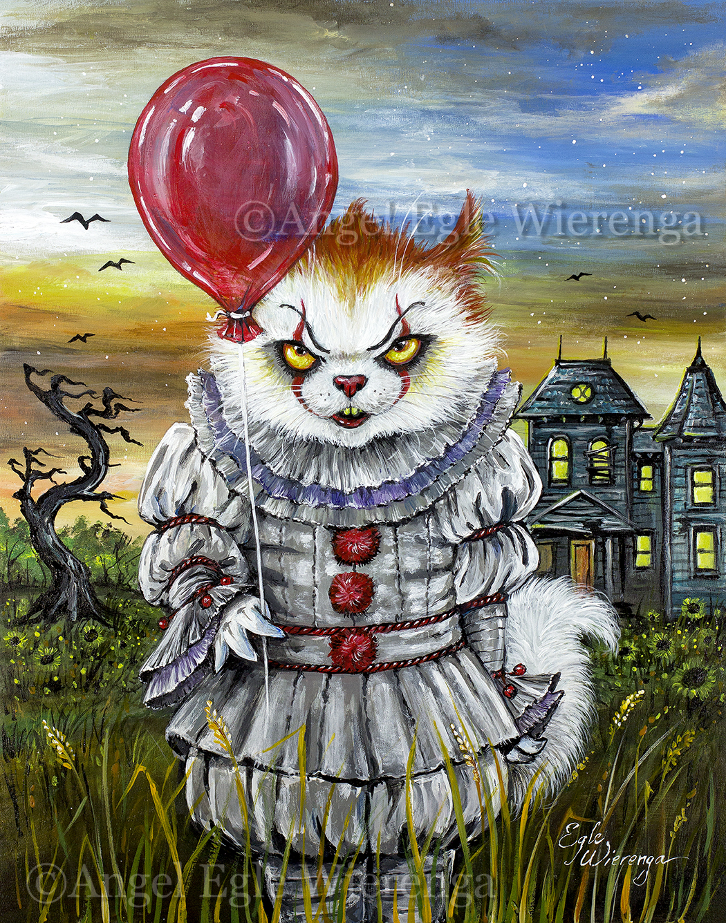 kITtywise the Purring Clown - Master Canvas Giclee from AngelSVisionS -  KittyWorks