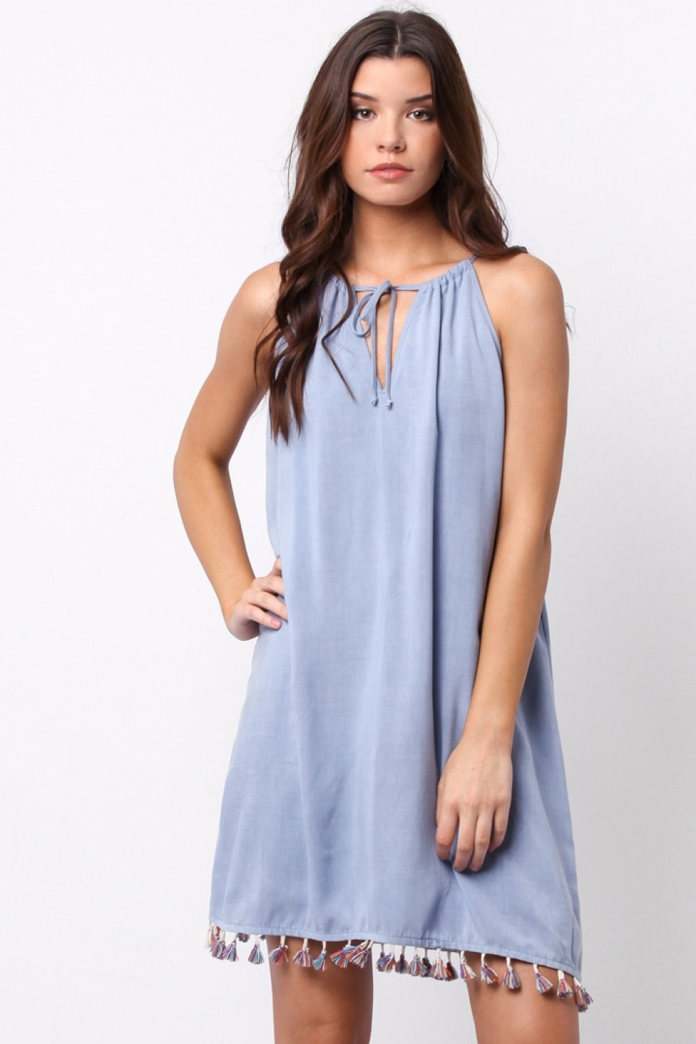 fa5bf88afaaa Chambray Shift Dress with Tassel Trim   Belle of the Boulevard ...