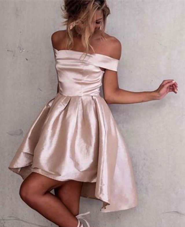 e1f65d5d49b Simple Off the Shoulder Hi Low Homecoming Dress Prom Dress ...