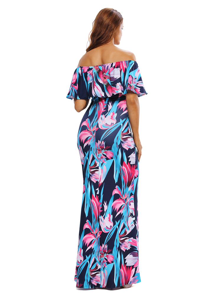 3efe5f7f215d ... Sexy Woman Strapless Maxi Long Ruffle Summer Party Clubwear Elegant  Sundress Slash Neck Hot Dresses SYD86D ...