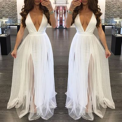 026cefffee67 Simple white v neck long prom dress, tulle evening dresses · Dress ...