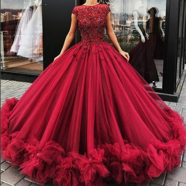 fd4bcd8c1dbc Gorgeous burgundy round neck long prom dress, burgundy ball gown, evening  dresses