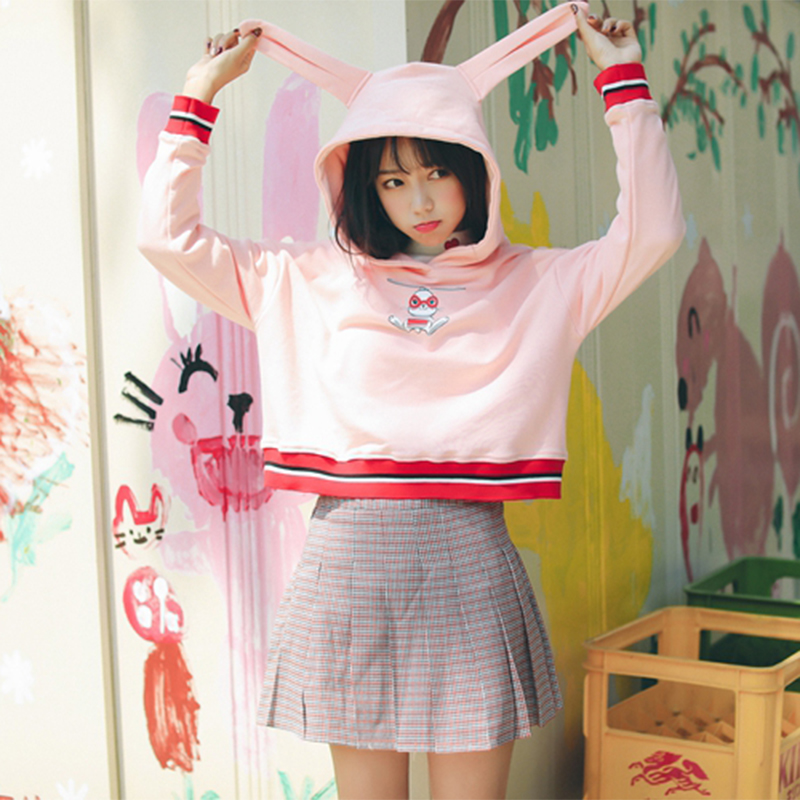 16ab370950 Pink 20cute 20bunny 20ear 20hood 20fleeces 20girly 20chic 20pullover  20dc553 original
