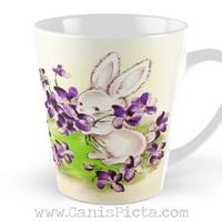 Vintage Lilac Easter Bunny Inspired 11/12/15 oz Mug Spring Dishwasher  Microwave Cup Tea Coffee Drink Gift Rabbit Cute Retro Purple Flowers  Lavender