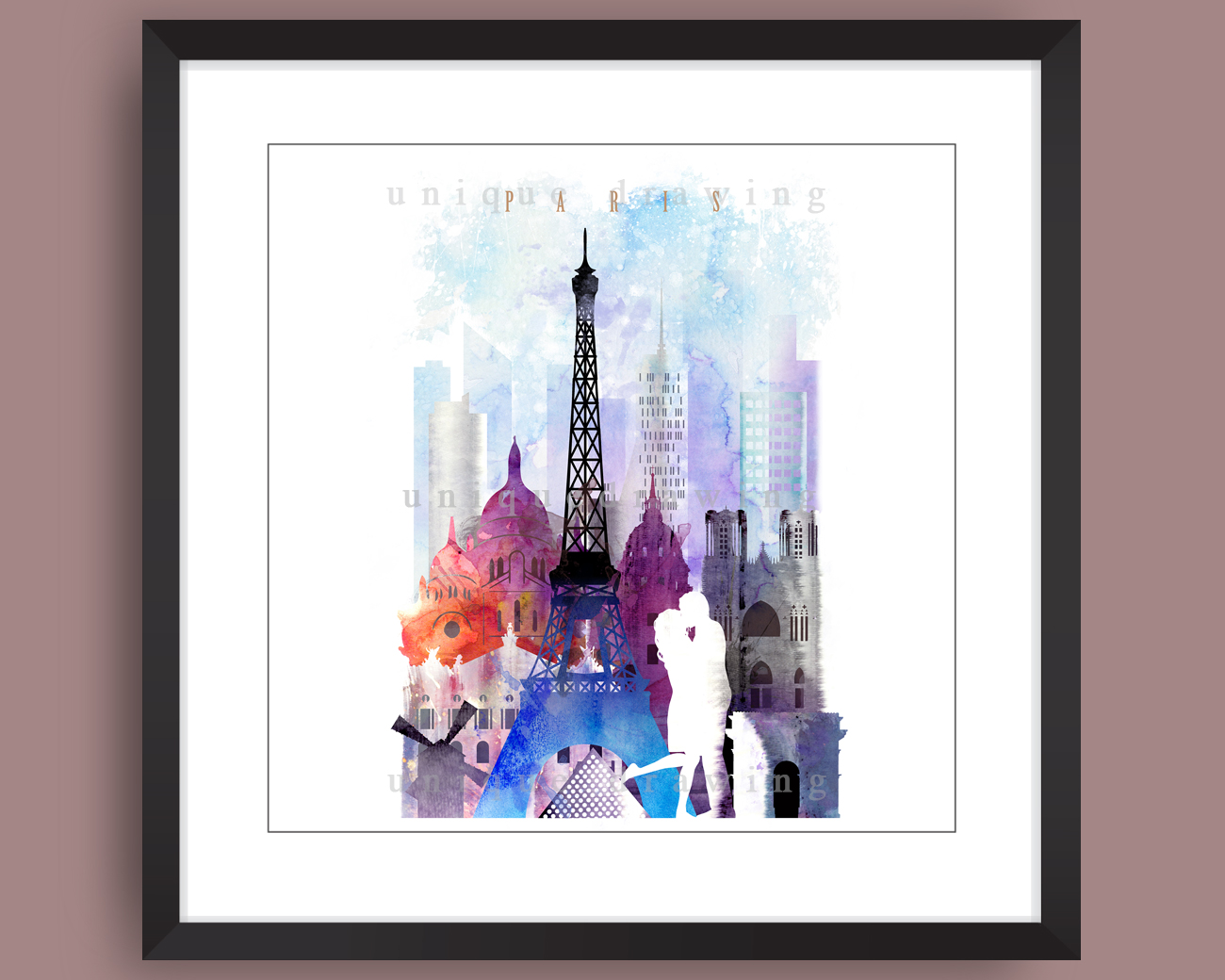 France Paris Paris Skyline Paris Landmarks Cityscape Poster Print Fine Art Wall Decor Painting No 4105
