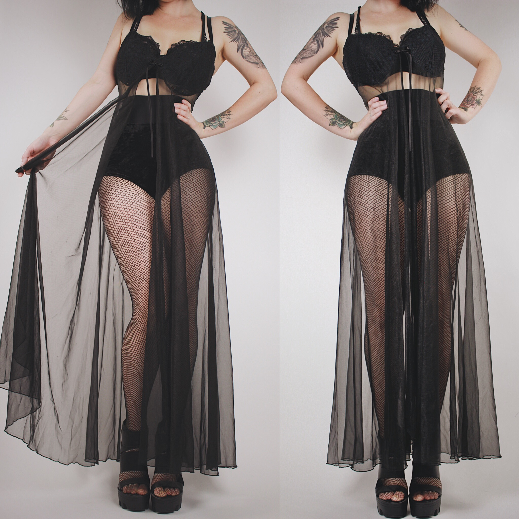 553a251f0831 CLAIMED - Vintage 80s Black Lace and Sheer Open Front Maxi Dressing Gown