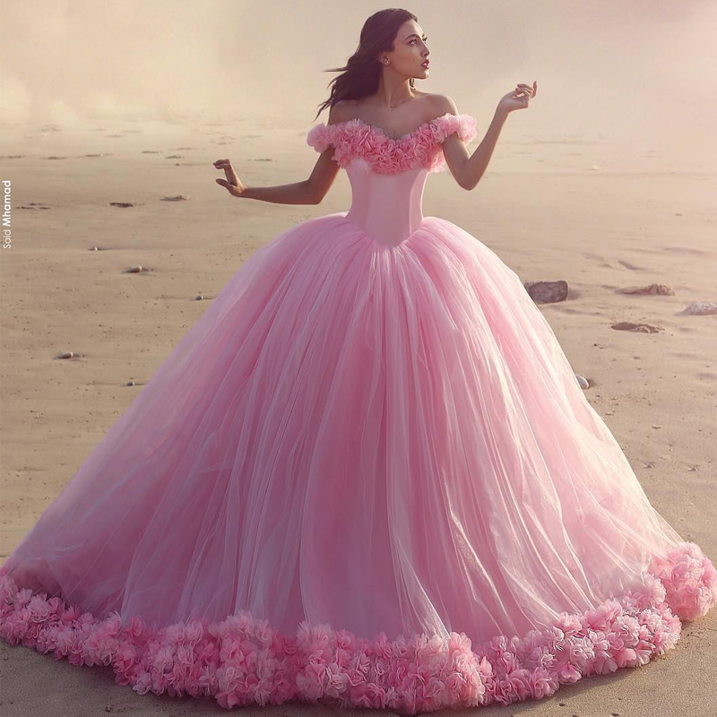 Floral Wedding Dress Ball Gown Pink Bridal Gowns Prom