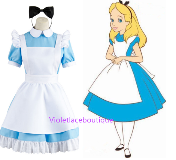 Alice in Wonderland Costume Lolita Dress Maid Cosplay Halloween ...