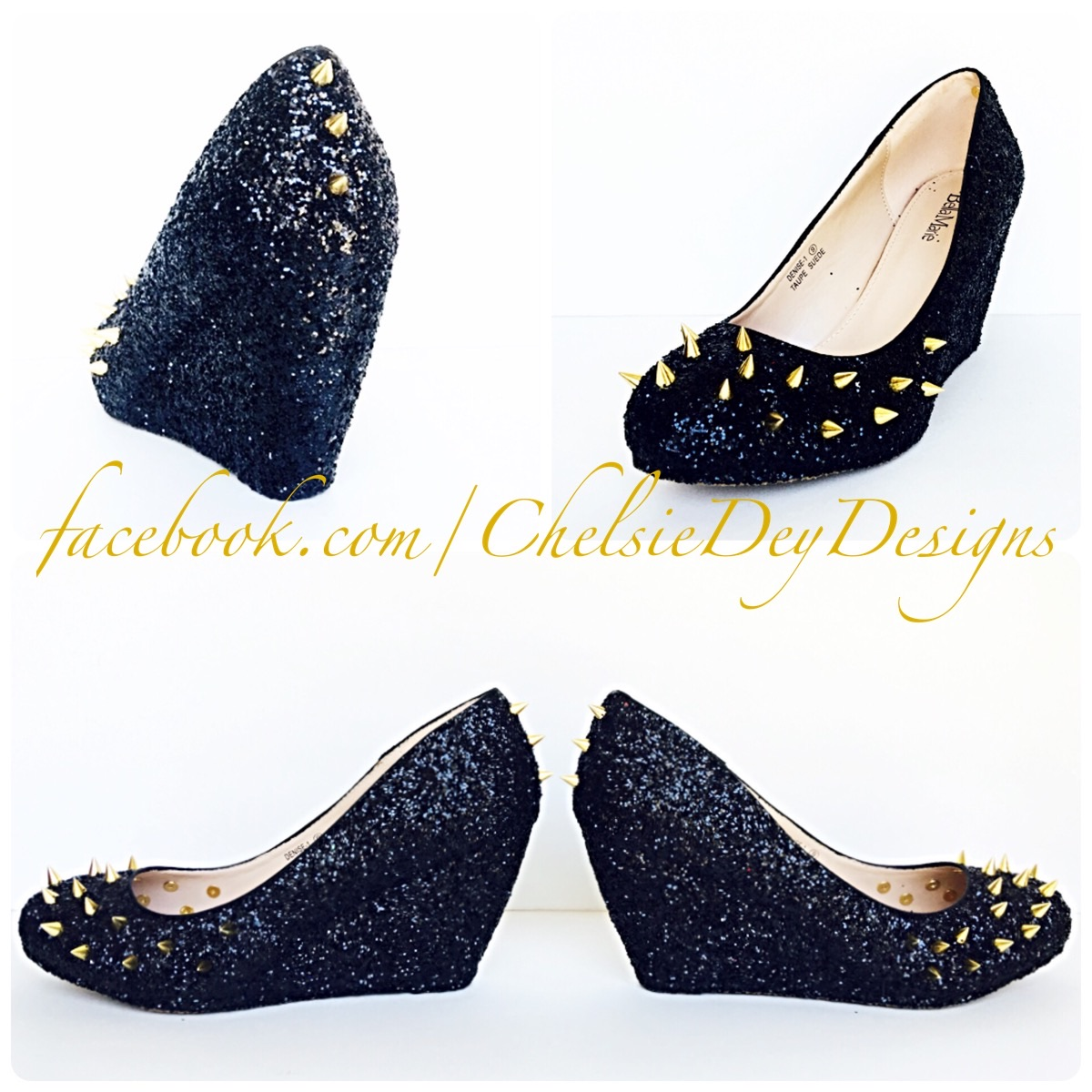 0f41e042aa24 Black Glitter Wedges - Sparkly High Heel Pump Wedges - Wedding Gold Spike  Shoes