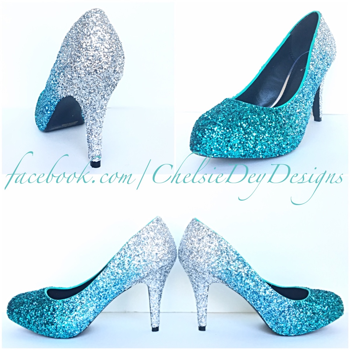 f2d92179782a5 Glitter High Heels - Blue and Silver Pumps -Aqua Turquoise Ombre Platform  Shoes - Fade Two Tone Heels - Sparkly Glitzy Wedding Heels