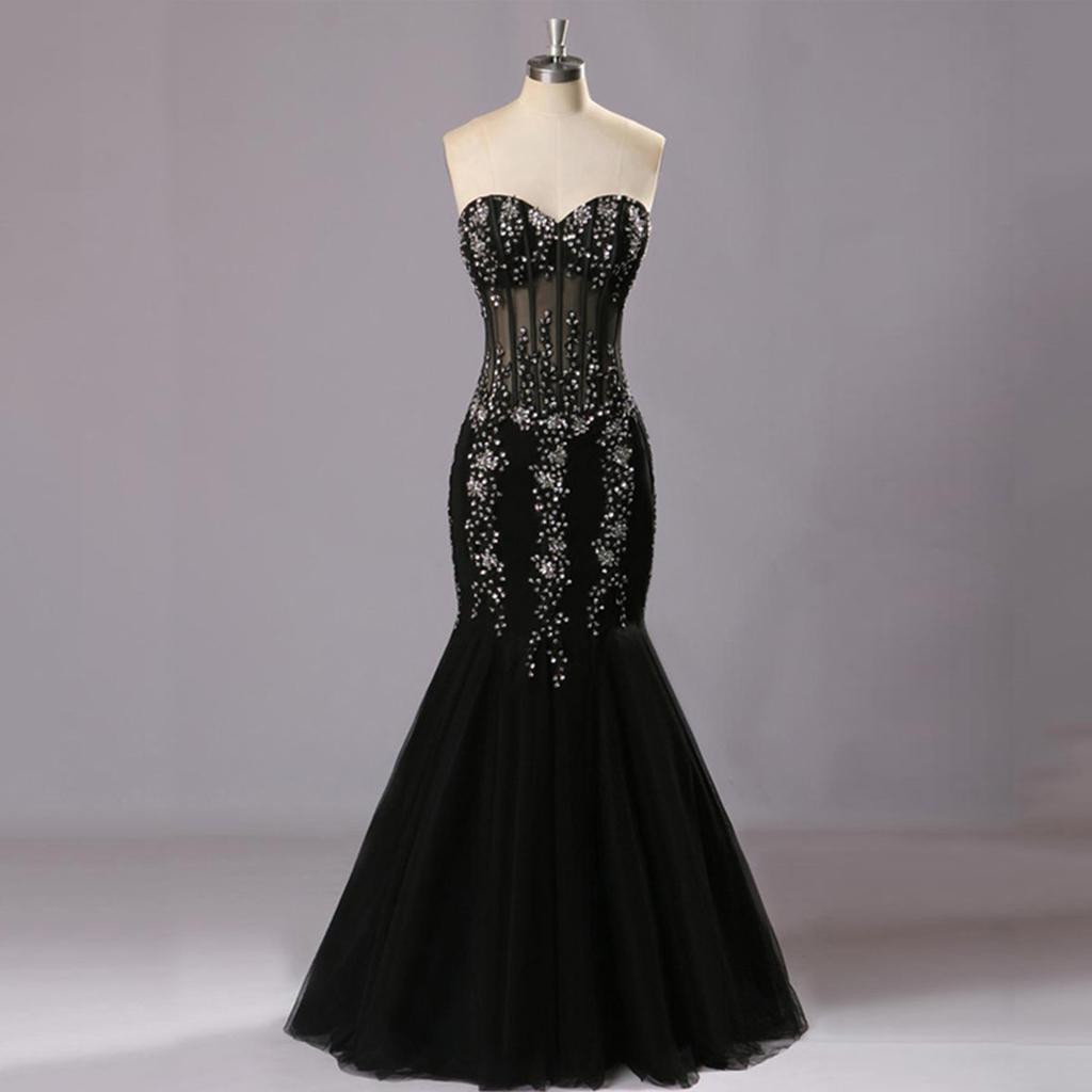 cad2664481d Sexy black mermaid evening party dress